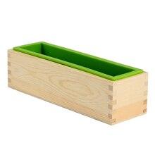 Moule Flexible rectangulaire de moule de savon de Silicone avec la boîte en bois pour loutil fait main de bricolage