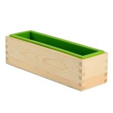 Silikon Seife Form Rechteckige Flexible Form mit Holz Box für DIY Handgemachte Werkzeug