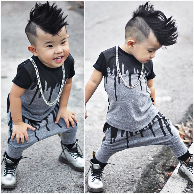 9b0a11466 2pcs Newborn Toddler Infant Kids Baby Boy Clothes T shirt Tops Short ...