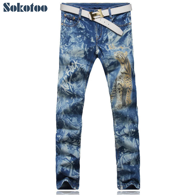 Sokotoo Men's fashion colored drawing tiger print jeans Male casual slim denim pants Blue long trousers Free shipping fashion men s clothing print jeans male slim elastic colored drawing personality trousers flower trousers