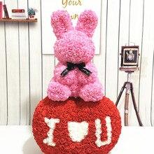 Модный уникальный подарок на день Святого Валентина 45 см Роза кролик вечная роза ручной работы Цветы из материала pe щенок креативный подарок на день рождения