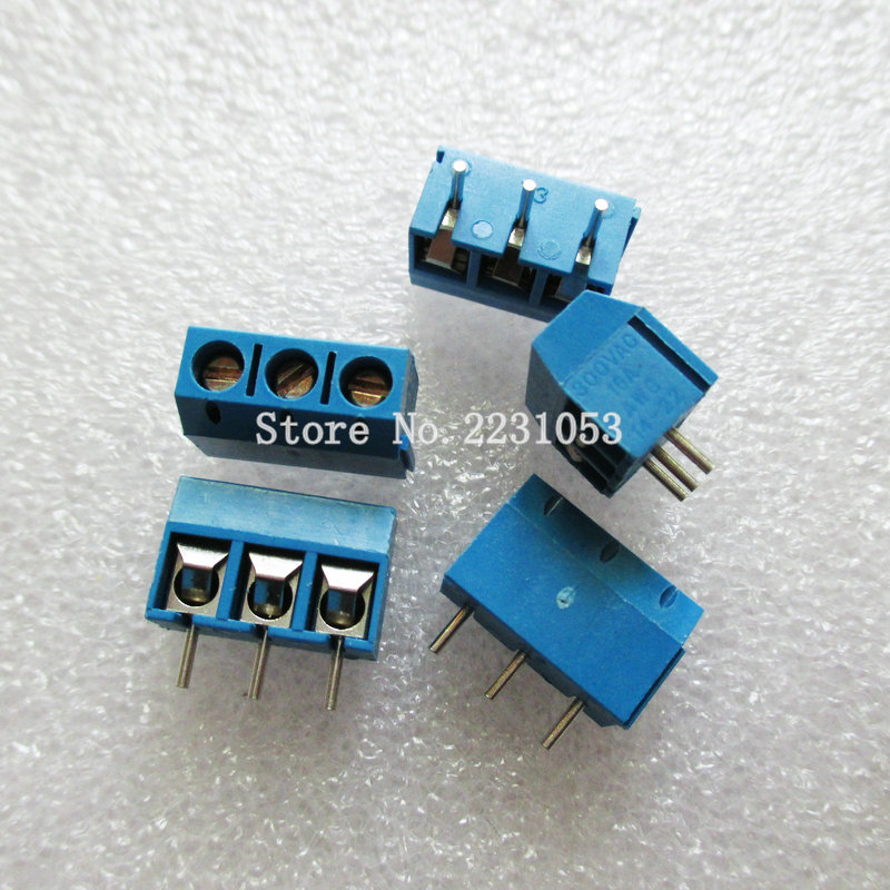 20PCS/Lot KF301-3P KF301-5.0-3P KF301 Screw 3Pin 5.0mm Straight Pin PCB Screw Terminal Block Connector 5 pcs 400v 20a 7 position screw barrier terminal block bar connector replacement