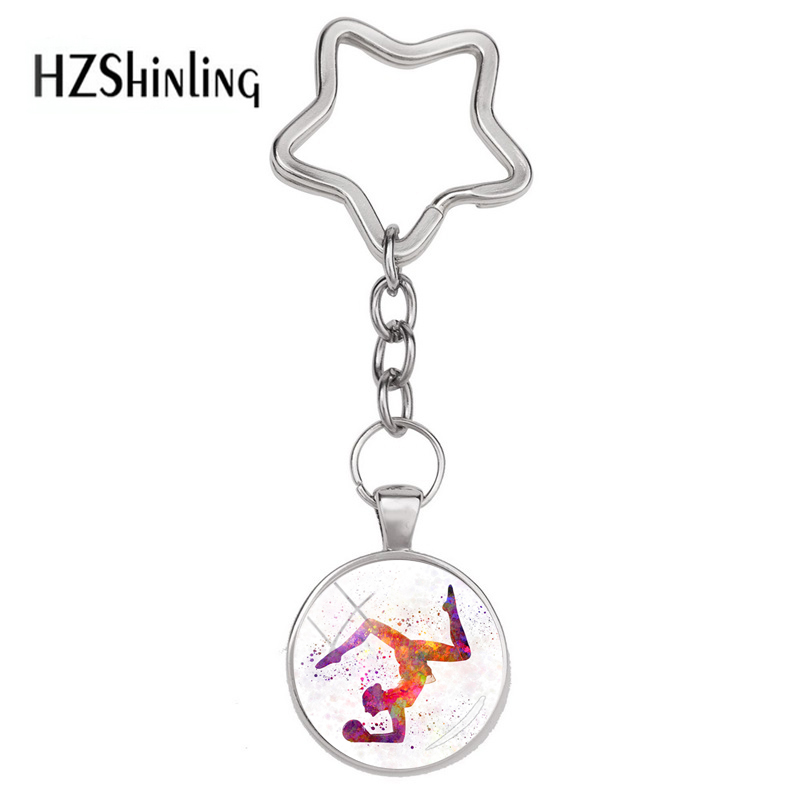 2018 New Fashion I Like Gymnastics Star Keyring Glass Dome Cabochon Keychains Silver Elegan Charming Style Art Keychain Jewelry