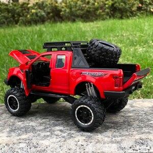 Image 5 - 1:32 فورد رابتور F150 رافعة شاحنة خفيفة لنقل السلع المعدنية لعبة سبيكة التراجع قوالب طراز السيارة نموذج سيارة دمى هدايا للأطفال