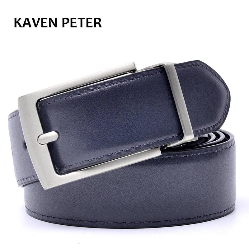 Reverzibilni pasovi oblikovalski pasovi za moške visoke kakovosti iz pravega usnja Luksuzni pas moški pasovi temno modra in črna barva