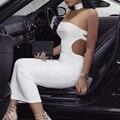 Hl del vendaje de summer dress mujeres atractivo del club del halter blanco sin espalda placketing larga dress rayon vendaje dress partido de la celebridad vestidos