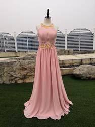 В наличии длинное шифоновое ТРАПЕЦИЕВИДНОЕ вечернее платье Дешевые персиковые женские Вечернее платье для выпускного вечера vestidos robe De Soiree