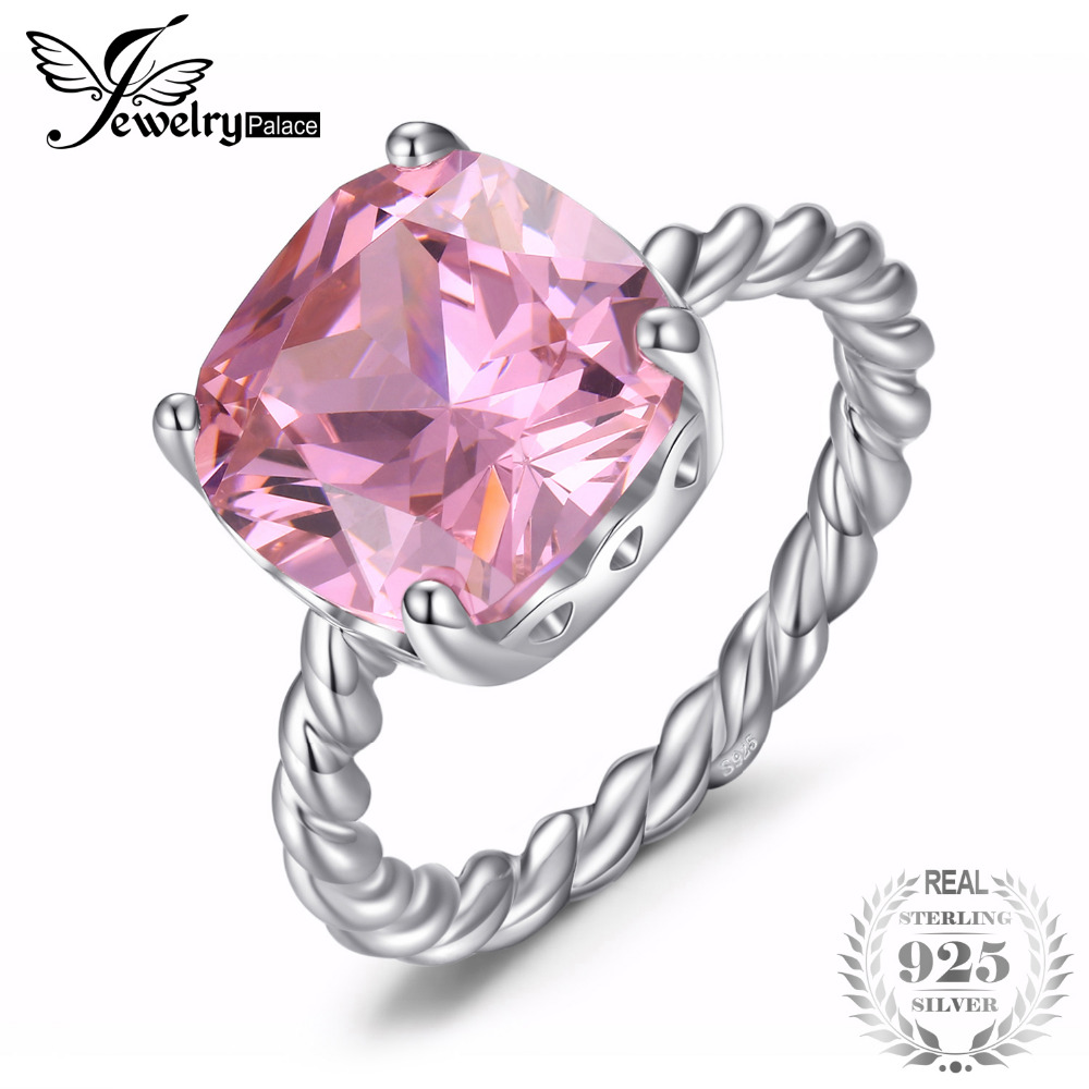 цена на JewelryPalace Women Ladies Cushion Cut Pink Cubic Zirconia Beautiful Delicate Ring 925 Sterling Silver Engagement Ring