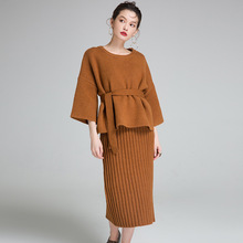 2019 Spring and autumn new arrival womens set sweater Korean sling Knitted dress