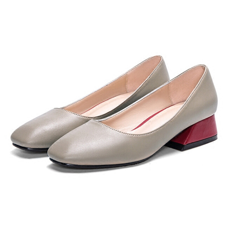 Shoes Woman 3CM Square Toe Women Medium Heel Shoes Leather Beige Womens Low Heel Dress Shoes Thick Heeled Mother Shoes B-0243 selens pro 100x100mm 12nd square medium
