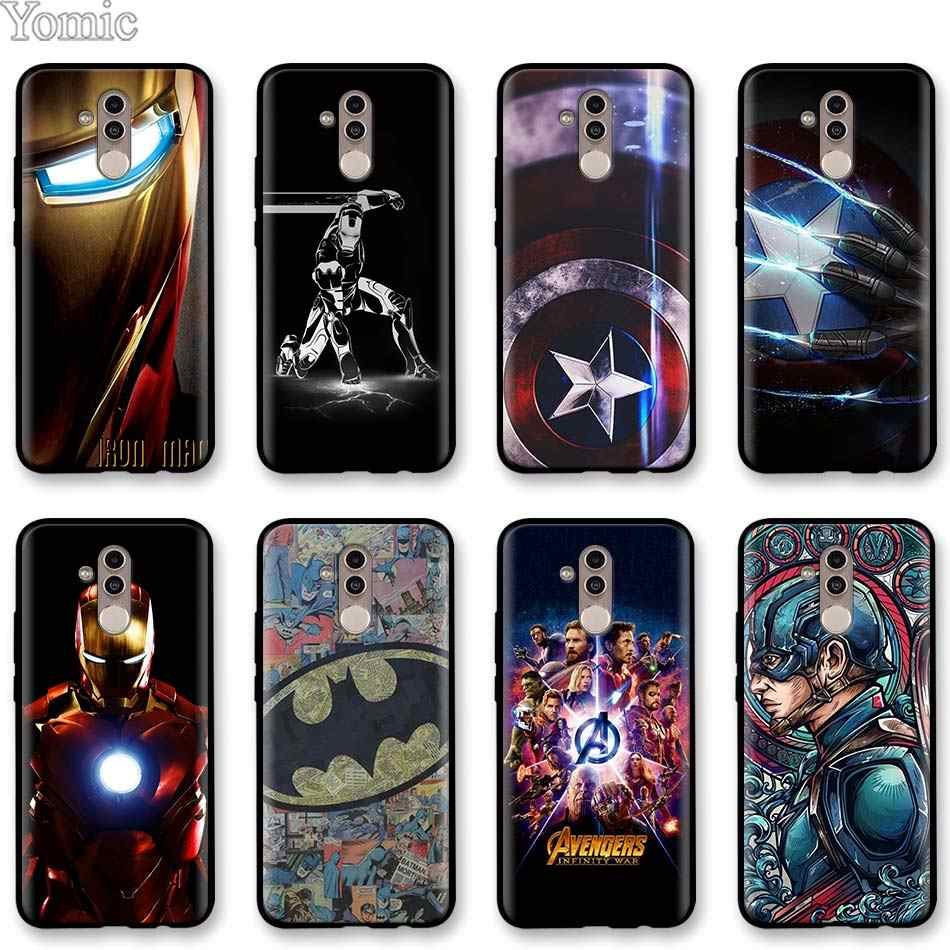 Ironman Marvel Avengers superhelden Black Soft Case voor Huawei Mate 10 20 Lite P20 P30 Pro P30 Lite Honor Y7 y9 2019 Case Cover