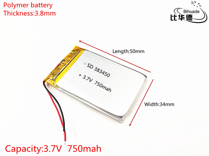 Free shipping 1pcs/lot 383450 3.7V 750 mah Lithium polymer battery With Protection Board For GPSFree shipping 1pcs/lot 383450 3.7V 750 mah Lithium polymer battery With Protection Board For GPS