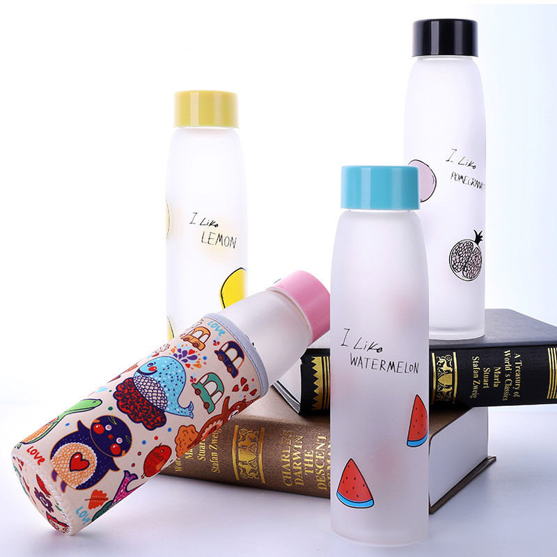 Creative Travel Outdoor Water Bottles Portable Dog Cat: Creative Frosted Fruit Glass Outdoor Sports Travel