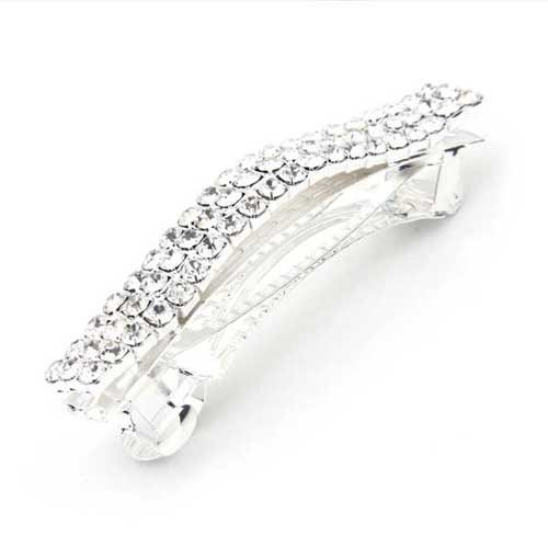 Silver Plated Crystal Rhinestone Hair Barrette Clip Wedding
