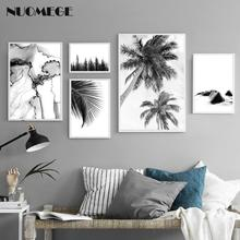 NUOMEGE Black White Wall Art Canvas Painting Minimalistic Plant Landscape Poster Nordic Style Prints Picture Home Decor