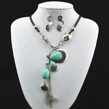 S184 mariposa natural piedra COLLAR COLGANTE y pendiente plata antigua, joyería, regalo de las mujeres, mirada de la vendimia, tibet aleación