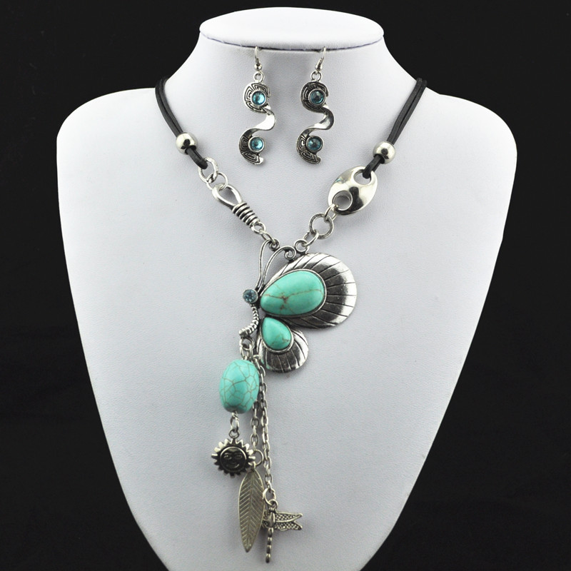 S184 Natural Butterfly Stone Necklace Pendant & Earring Antique Silver,Jewlery ,Women Gift,Vintage Look,Tibet Alloy