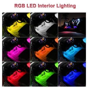 Image 5 - 4 sztuk samochodów listwy RGB LED taśmy oświetleniowe LED światła kolory samochodów stylizacja dekoracyjna lampy tworzące nastrój samochodów wewnętrzna lampka z pilotem 12V