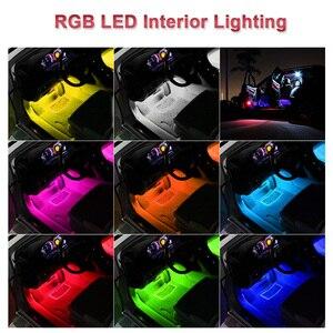 Image 5 - Tira de luces LED RGB para coche de 4 Uds., tira de luces LED de colores, luces decorativas de estilismo, lámparas de ambiente, luz Interior de coche con mando a distancia de 12V