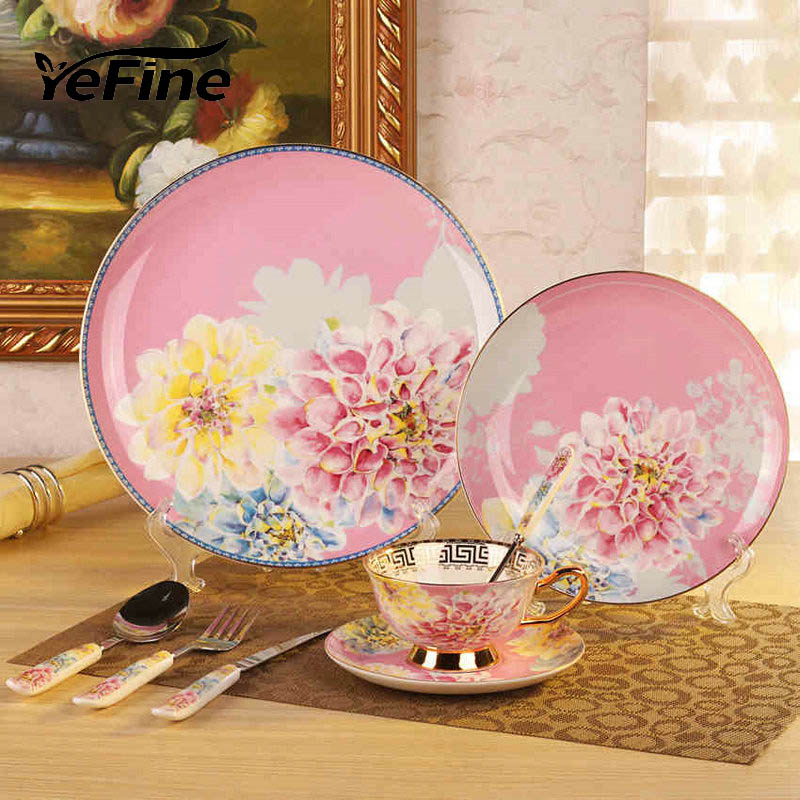 YeFine Porcelain Tableware <font><b>Set</b></font> Royal Bone China Dinnerware <font><b>Set</b></font> Tableware Dishes And Plates Ceramic Dinner Knives And Forks