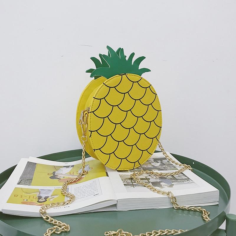 Le Flap Chiusura Sacchetto Modo Frutta Borse Disegno Di Crossbody Catene Del Per Ananas Carino 3d Solido Spalla Ragazze Lampo Della Signora Donne RvqaBRP8