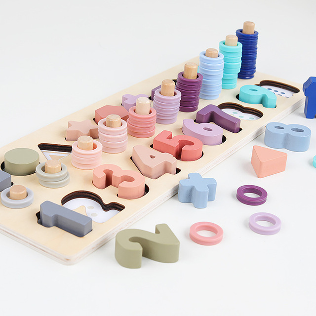 Preschool Wooden Montessori Toys Count Geometric Shape Cognition Match Baby Early Education Teaching Aids Math Toys For Children 2