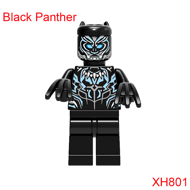 Black Panther Xh801 Building Block Mini Action Figure Super Heroes Star Wars Mini Doll Christmas Toys For Children Single Sale building blocks super heroes back to the future doc brown and marty mcfly with skateboard wolverine toys for children gift kf197