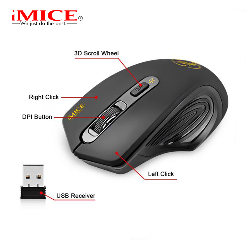imice USB Wireless mouse 2.4GHz Ergonomic Mice For Laptop PC Mouse 2000DPI Adjustable 3.0 Receiver Optical Computer