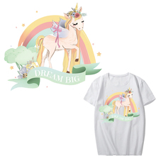 Cute Unicorn Patch Iron on Transfer Flower Rainbow Patches for Girl Clothing T-shirt Applique Heat Vinyl Thermal Press