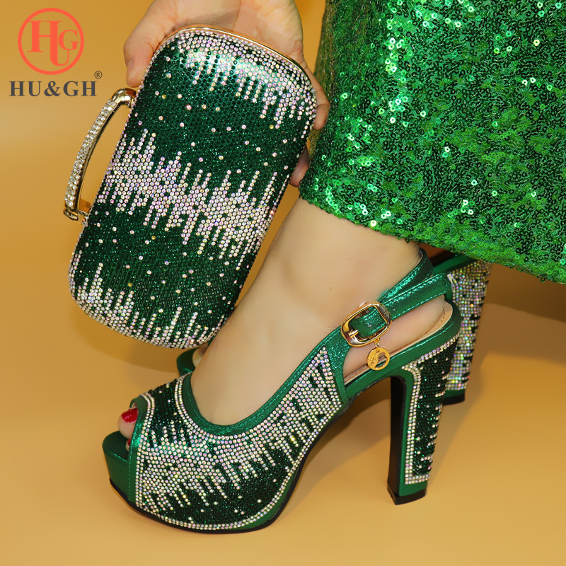 Fashion Italian Wedding Dress Shoes with Matching Bags Shoes and Bags To Match Green African Shoe
