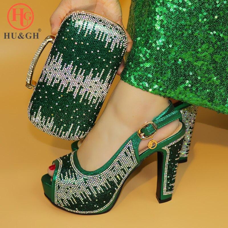Moda włoska buty ślubne buty z pasującymi torby buty i torby, aby dopasować zielona afryki buty i torby zestaw na imprezę w kobiety w Buty damskie na słupku od Buty na  Grupa 1