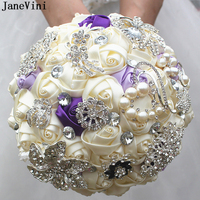 JaneVini Luxurious Satin Flowers Bridal Bouquets Lace Handle Crystals Pearls Brooch Bouquet Artificial Ivory Rose Buque De Noiva