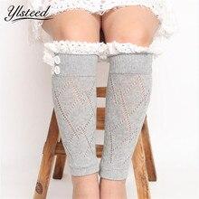 Детские зимние вязаные гетры, ботинки с кружевной отделкой носки для ботинок с ромбовидными пуговицами и манжетами для маленьких девочек розовые, синие, черные, белые