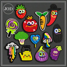 Clothes Embroidery Patch Fruit Applique Iron on Patches for Clothing Children Bag Purple Sew Stickers Strawberry Badges JOD
