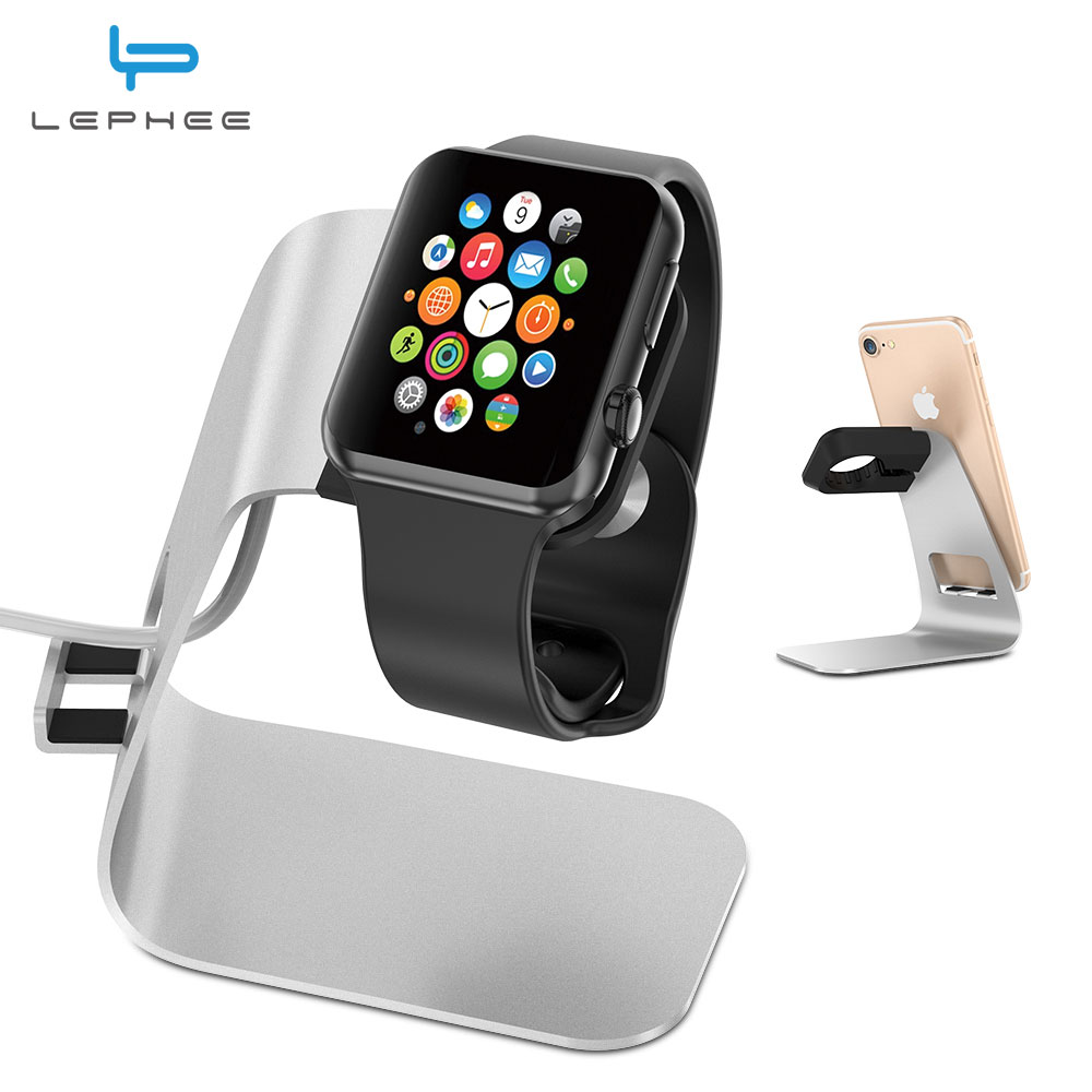 lephee 2 in 1 for apple watch holder phone stand desktop aluminum alloy charging dock station. Black Bedroom Furniture Sets. Home Design Ideas