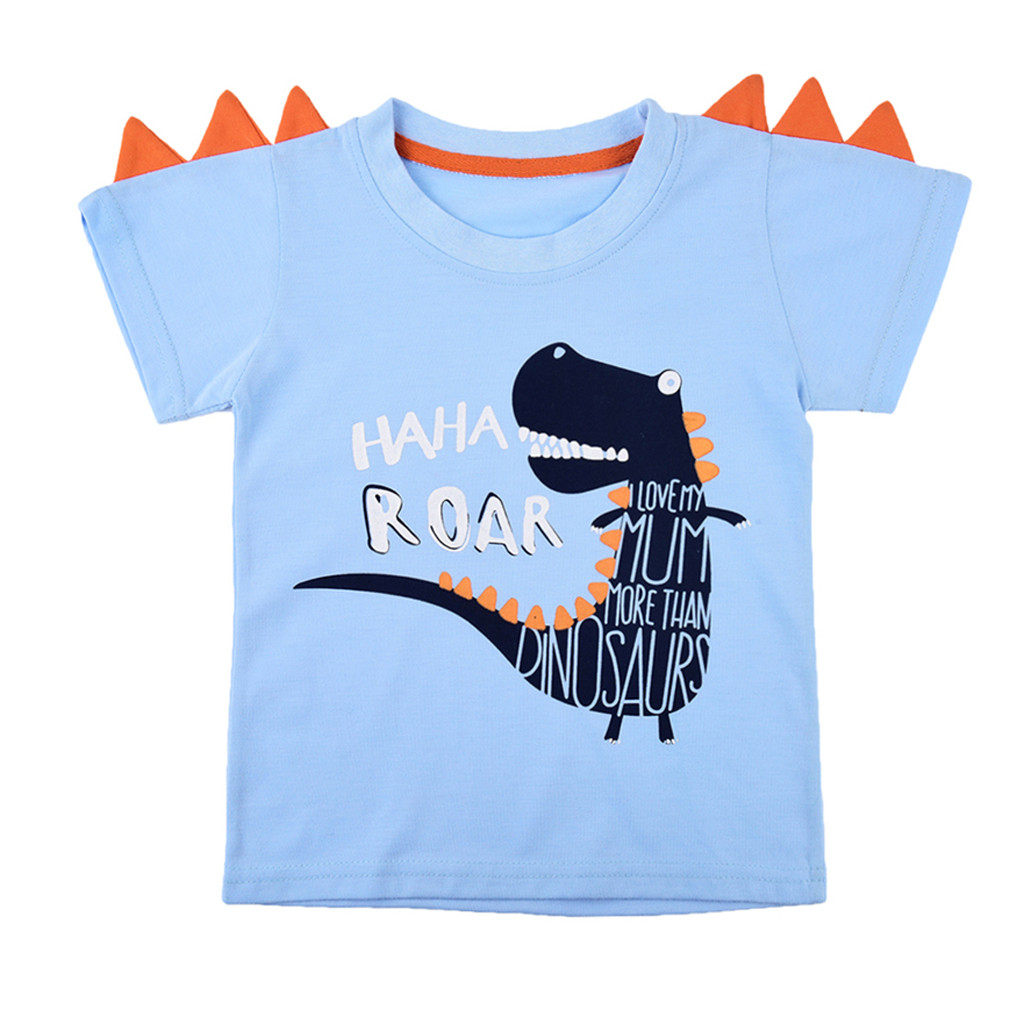 Dinosaur T-Shirt Hipster Toddler Children's-Wear Print Baby Cotton Cartoon Summer Letter