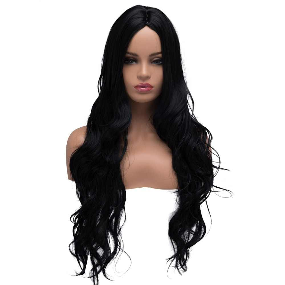 BESTUNG Long Curly Wavy Wigs for Women Ladies Synthetic Full Hair Natural Black Middle Parting Wig for Cosplay Costume