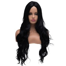 BESTUNG Long Curly Wavy Wigs for Women Ladies Synthetic Full Hair Natural Black