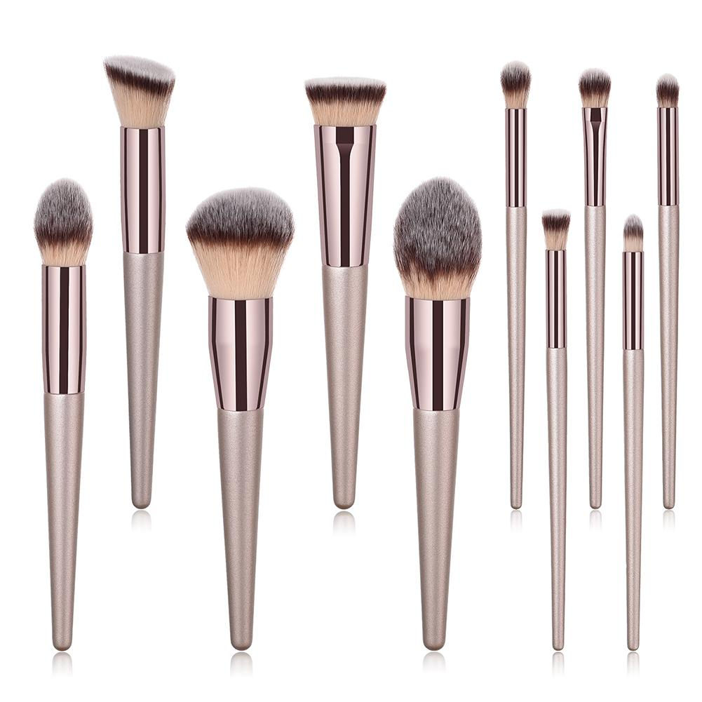 10Pcs Champagne Gold Makeup Brushes Face Eye Make Up Foundation Cosmetic Brush Mini Large Eye Shadow Brush Set Pincel Maquiagem4