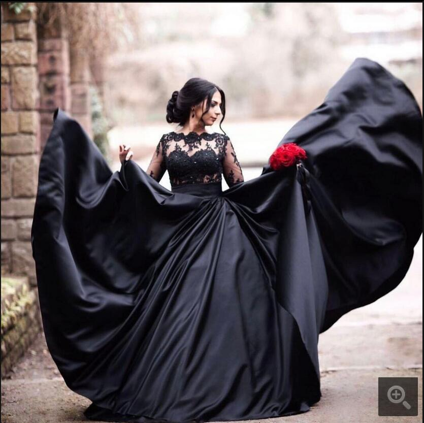 2019 New Black Gothic Ball Gown Wedding Dresses With Long Sleeves Beaded Lace Appliques Dubai Non White Bridal Gowns Custom Made
