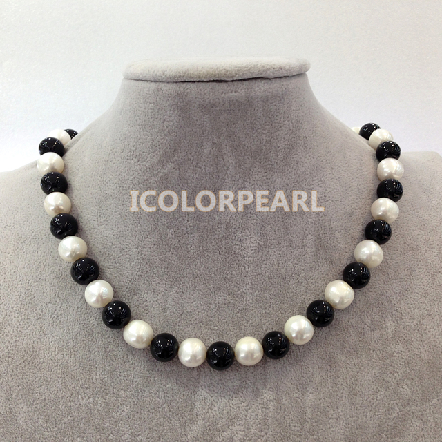 45-48cm Long Big 12mm White Potato Round Natural Freshwater Pearl And Black Agate Jewelry Necklace,Nice Gift For Mothers