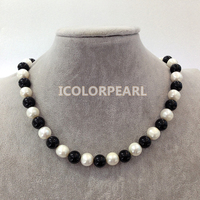 45 48cm Long Big 12mm White Potato Round Natural Freshwater Pearl Jewelry And Black Stone Necklace,Nice Gift For Mothers