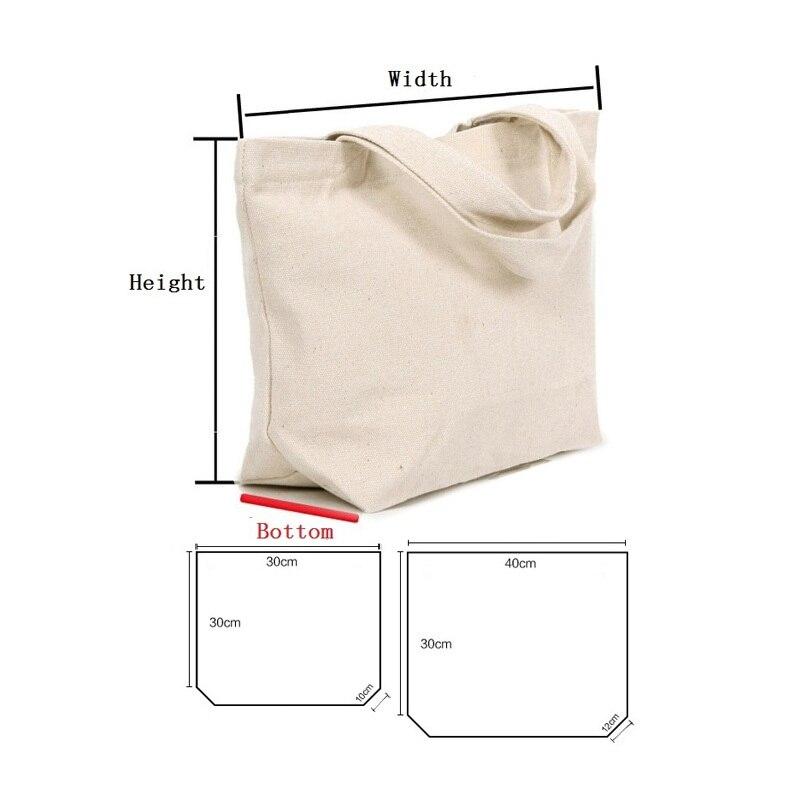 50pcs lot 2 Size White black Blank pattern Canvas Shopping Bags Eco Reusable Foldable Shoulder Bag