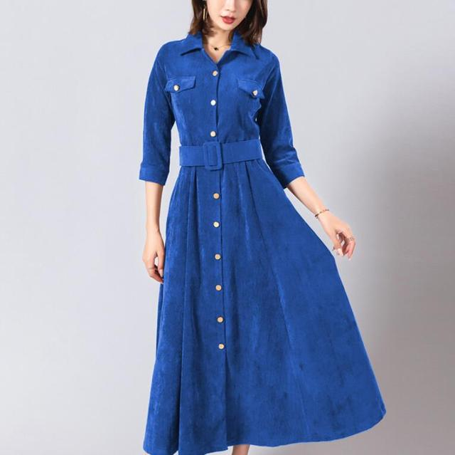 Novelty women's summer with turn-down collar pure color three-quarter sleeve High waist Vintage Maxi dress