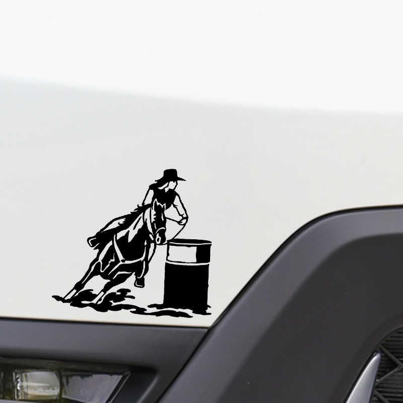 QYPF 15*13.9 CM Güzel Atlı Spor Dekor Vinil Araba Sticker Aksesuarları Siluet C16-0932