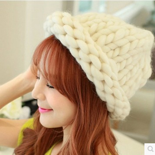 9c80cf51de8 Hand Knitted Hats Thick Yarn Merino Wool Yarn-in Yarn from Home ...