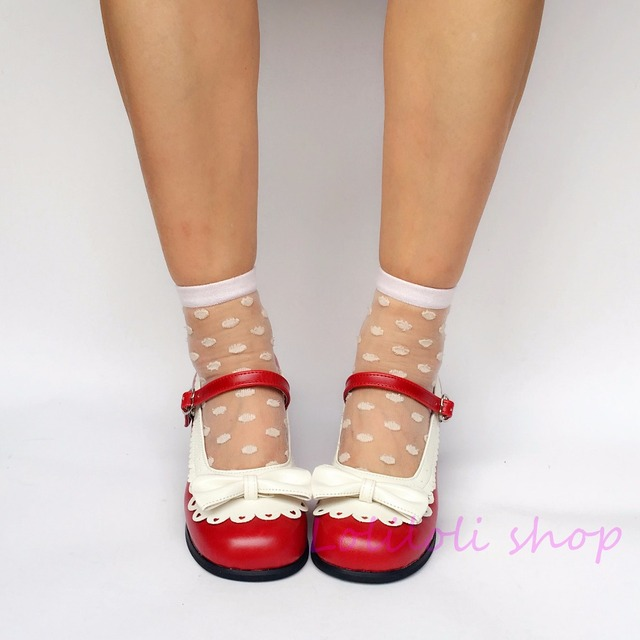 9d08bb6cd798 Princess sweet lolita shoes Japanese design customized special shaped shoes  red with white bow tie Middle heel shoes an8007