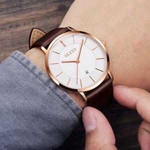 Image 2 - Olevs relógios masculinos marca de luxo esporte relógio de pulso à prova d30 água 30m ultrafinos relógio de quartzo data relógio masculino relógios de couro