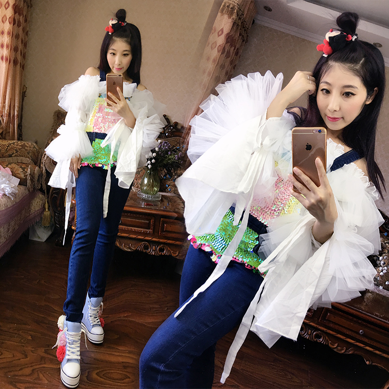 2016 new  autumn Thailand heavy pearl sequins strap jeans female fashion full length jeans