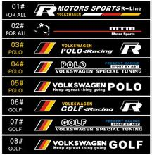 Automobile label car Racing stickers for VOLKSVAGEN POLO GOLF SCIROCCO Front windshield stickers for front window